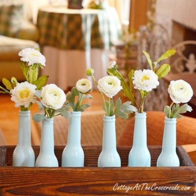 Painted Bottle Spring Centerpiece