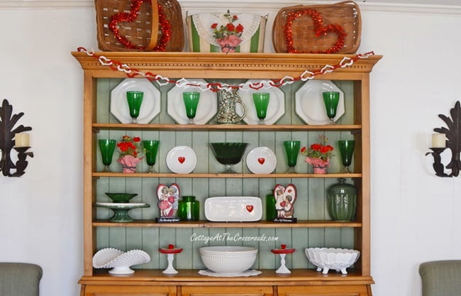 pine cupboard decorated for Valentine's Day