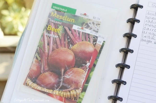 seed packets kept in a garden journal