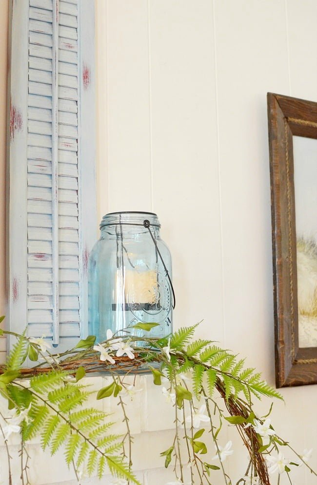 Decorating with old wooden shutters cottage at the for Decorating with plantation shutters