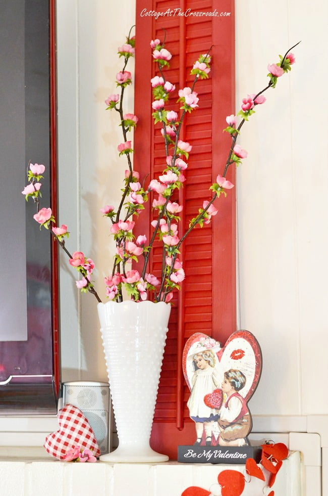 red wooden shutter used to decorate for Valentine's Day