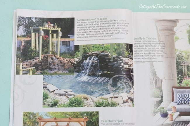 garden waterfall featured in Country Sampler Spring Decorating magazine