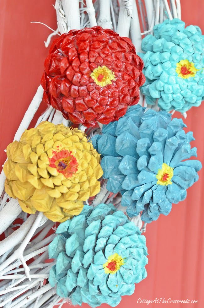 pinecone flowers on a wreath