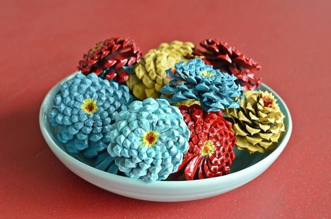 pinecone flowers in a bowl