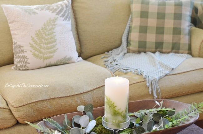 fern candle and fern pillow on a spring tour