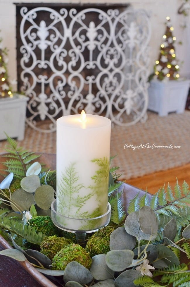 spring tour with a fern adorned candle