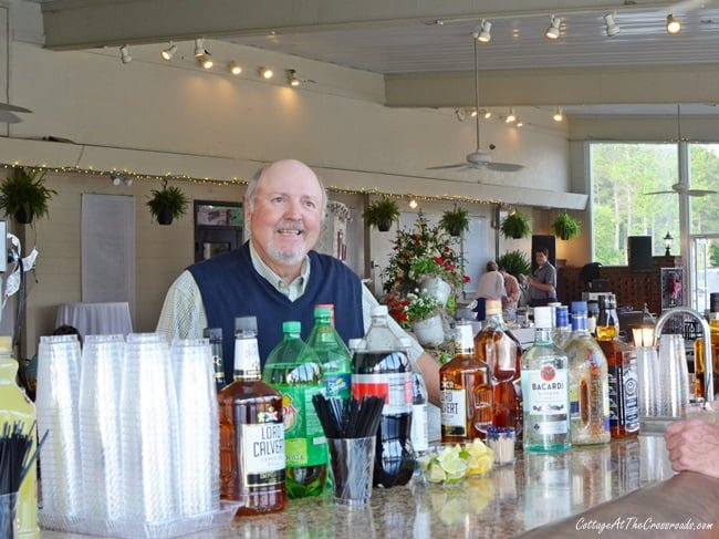 Leo tending bar at the Civitan golf benefit party