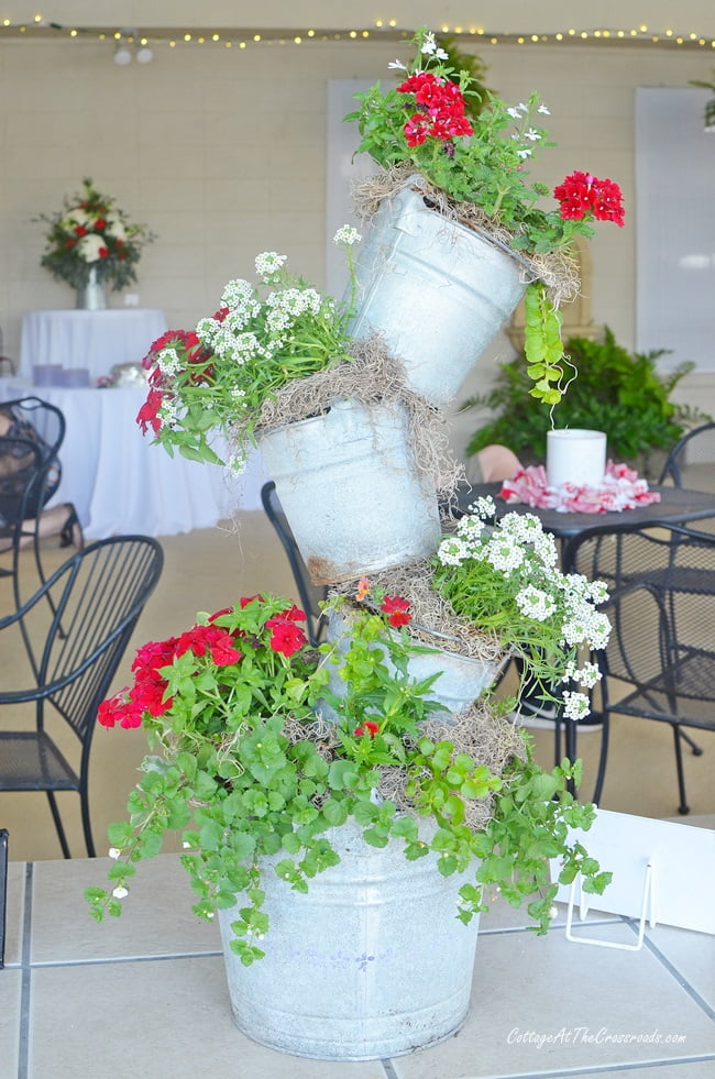 topsy turvy planter used at the Civitan party
