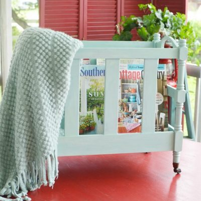 upcycled vintage magazine rack