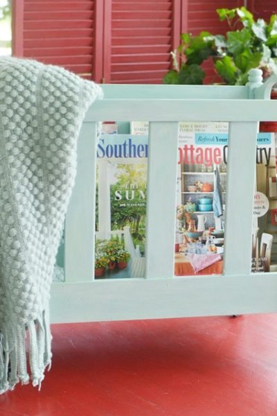 upcycled vintage magazine rack