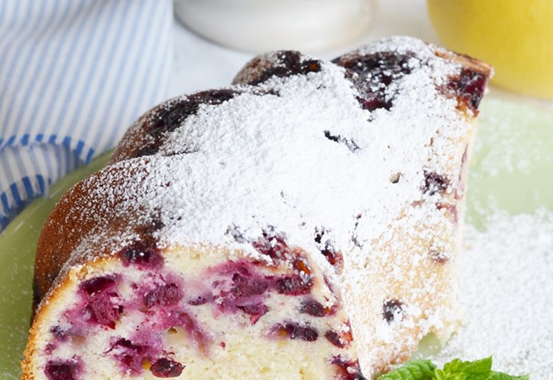 Blueberry Lemon Pound Cake with a Dusting of Powdered Sugar