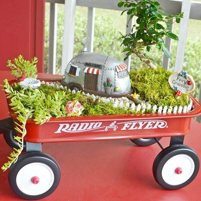 Fairy Garden in a Little Red Wagon