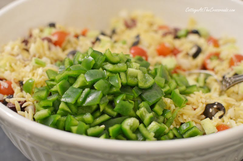 green peppers in orzo salad