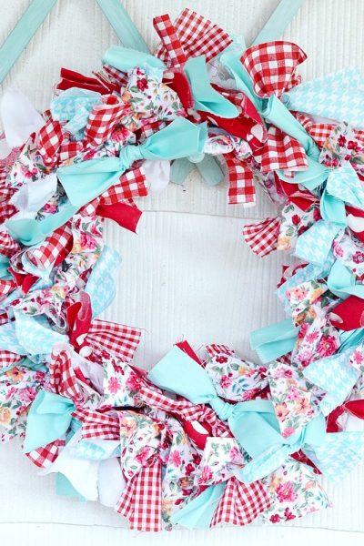 aqua and red rag wreath