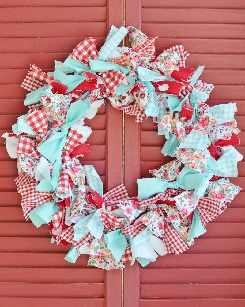 aqua and red rag wreath