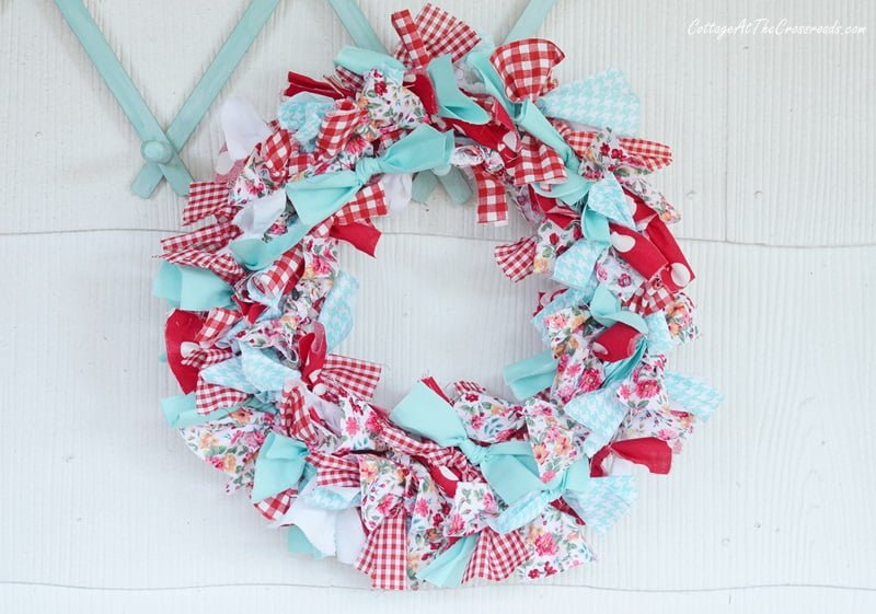 red and aqua rag wreath