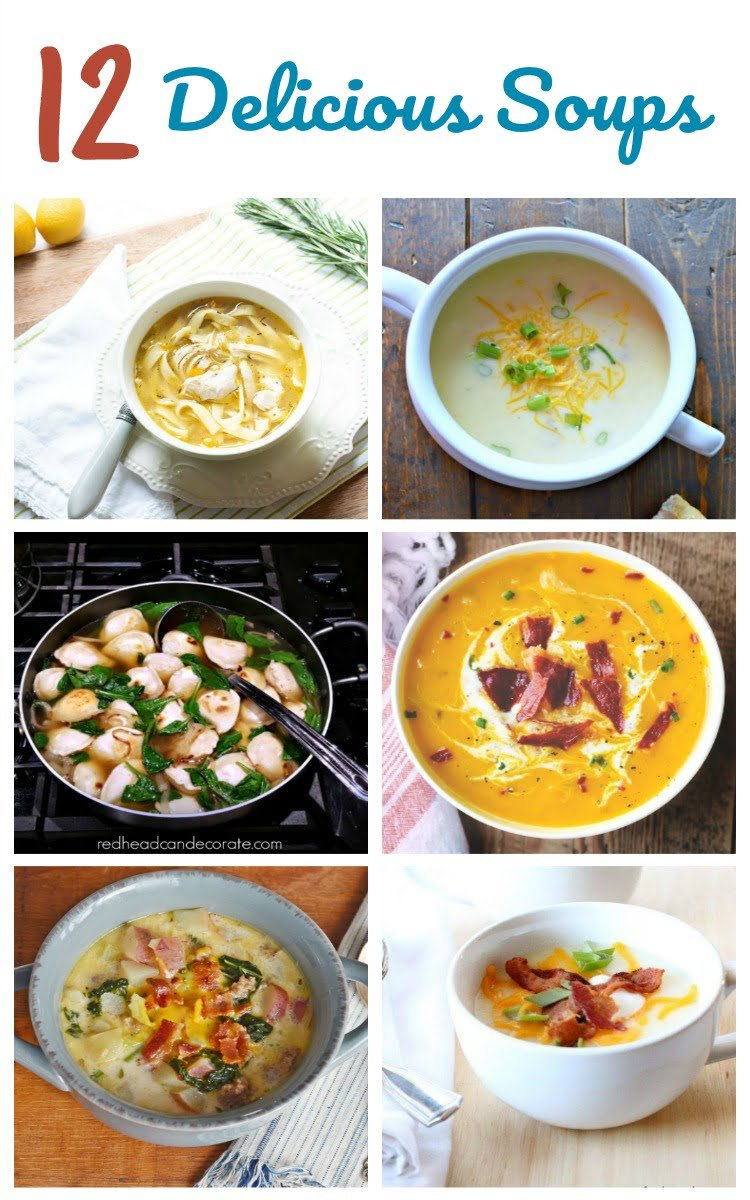 Here are 12 delicious soup recipes from the Cooking Housewives. Pin them so you won't forget them! #homemadesoup #soup #souprecipes