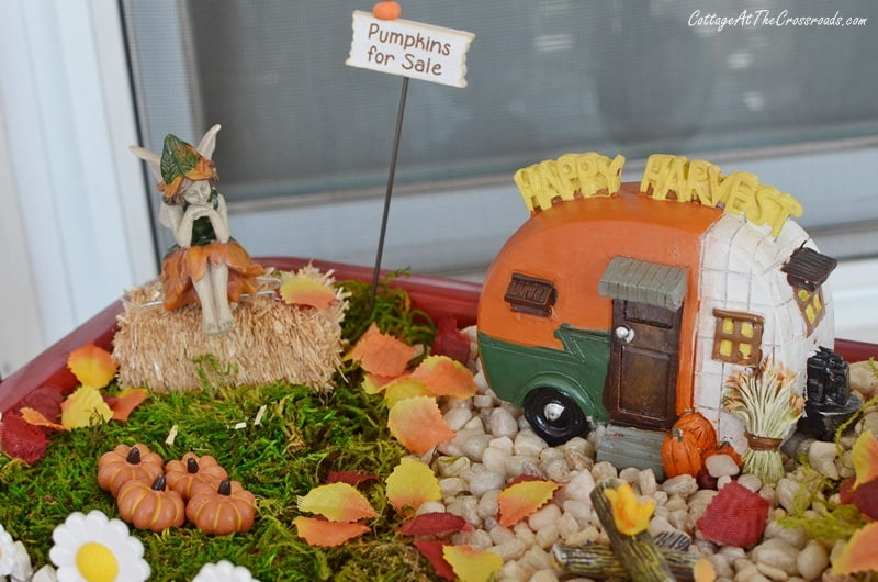 fall fairy garden with a camping theme
