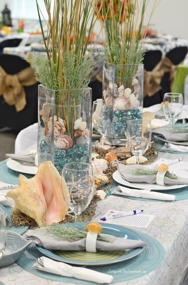 aqua and natural coastal themed tablescape