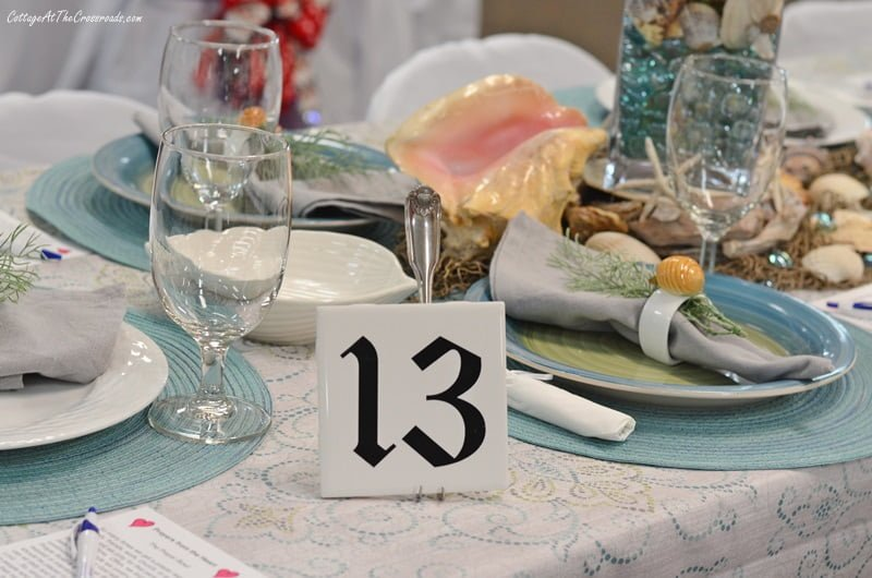 Table 13 had a beach or coastal theme