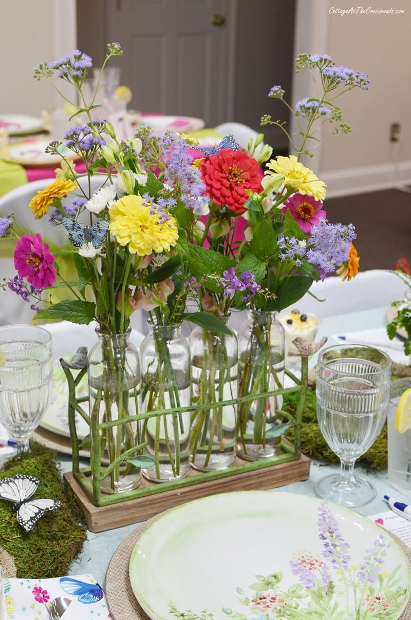 floral centerpiece for Butterfly Meadow tablescape