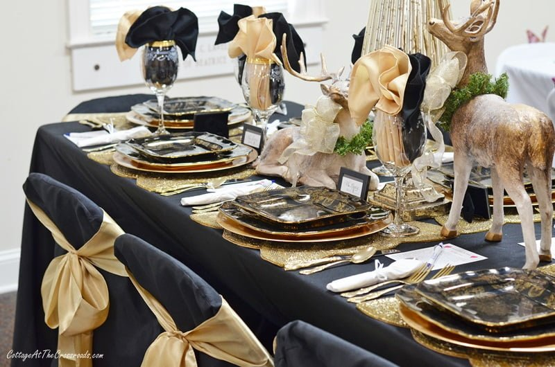 black and gold Christmas tablescape