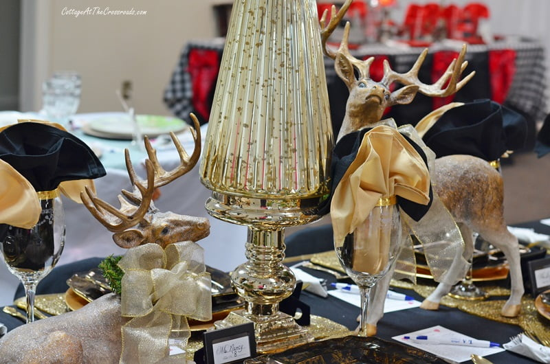 gold centerpiece with beautiful reindeer