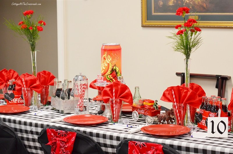 a Coca-Cola themed tablescape
