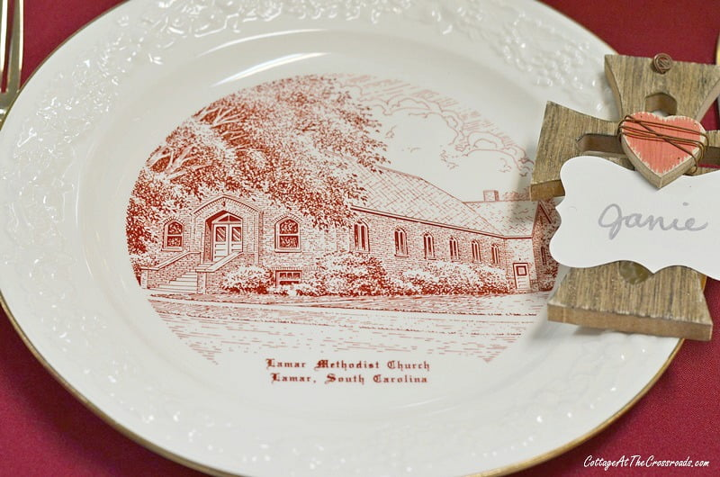 Lamar United Methodist Church plates used in a tablescape fundraiser