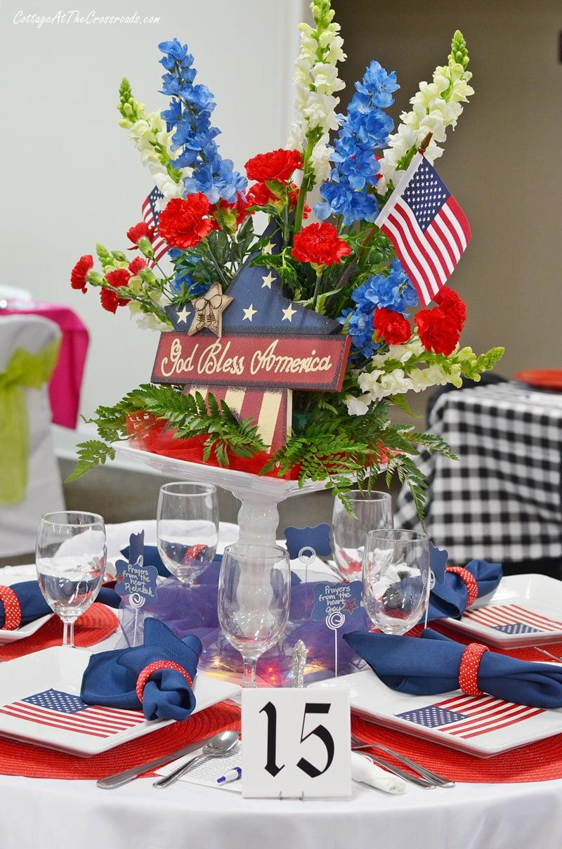 floral patriotic centerpiece