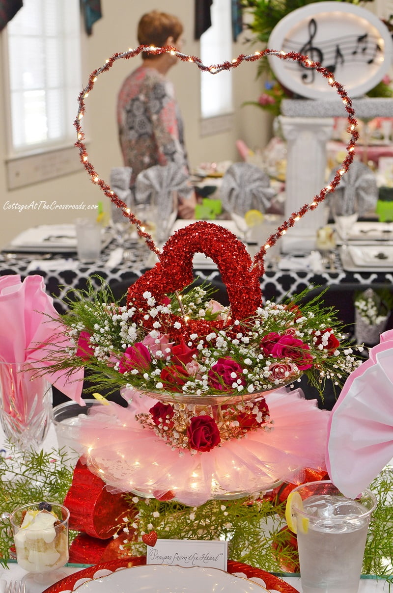 pink and red Valentine's floral centerpiece