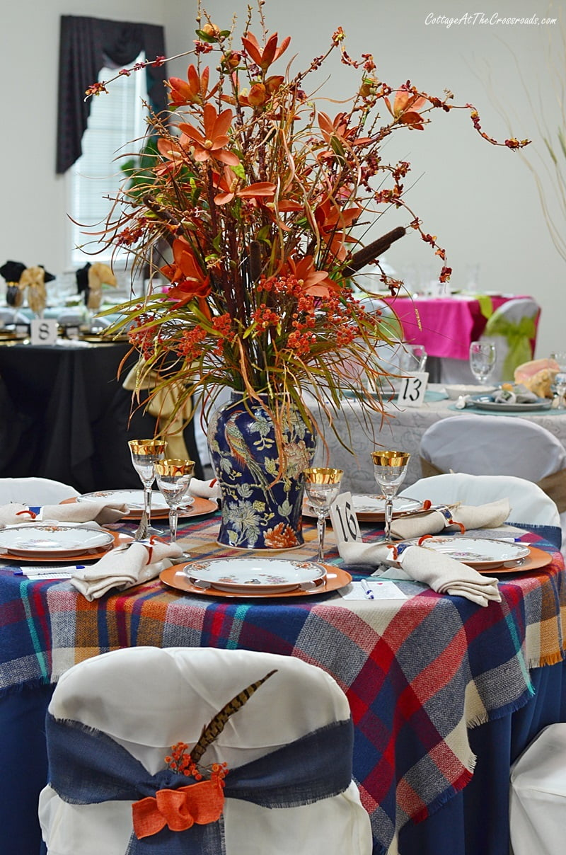 fall tablescape with Pheasant china by Sommer & Matschak