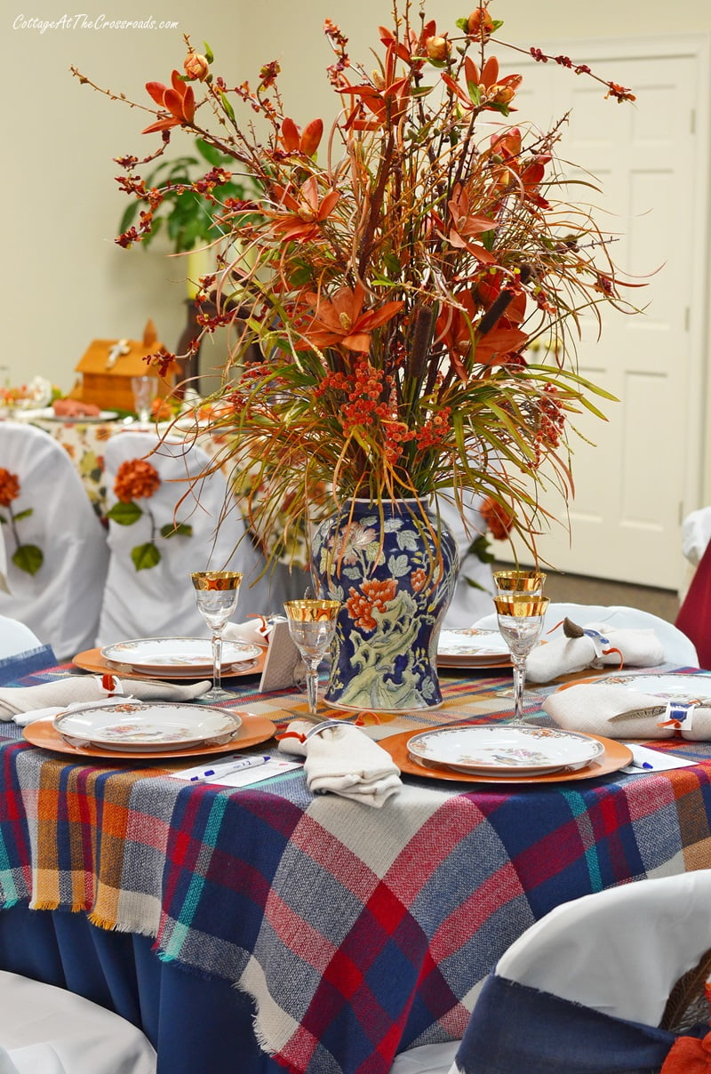 pheasant tablescape centerpiece
