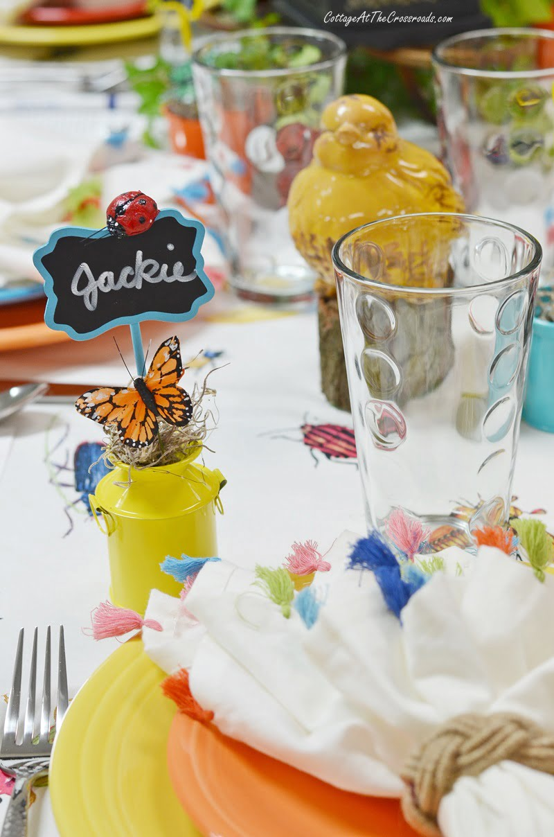 insect adorned place cards