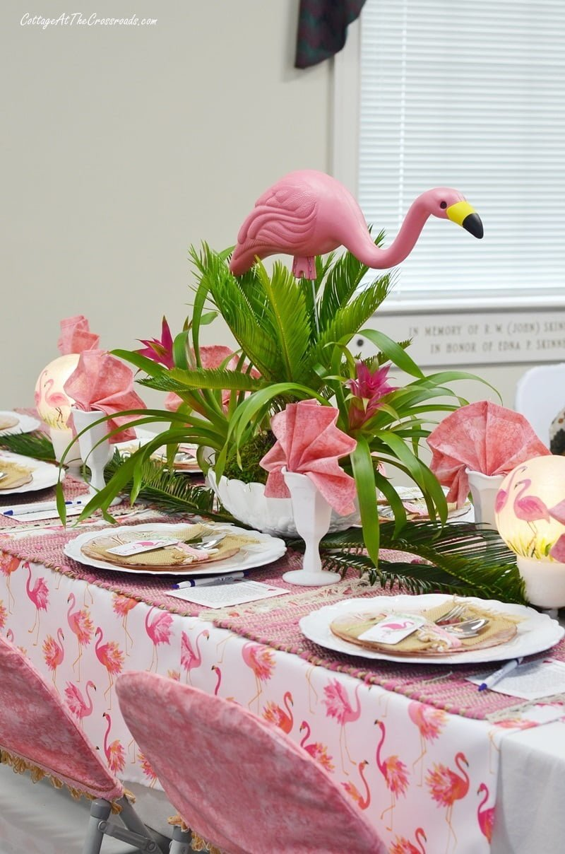 flamingo centerpiece on a flamingo themed tablescape
