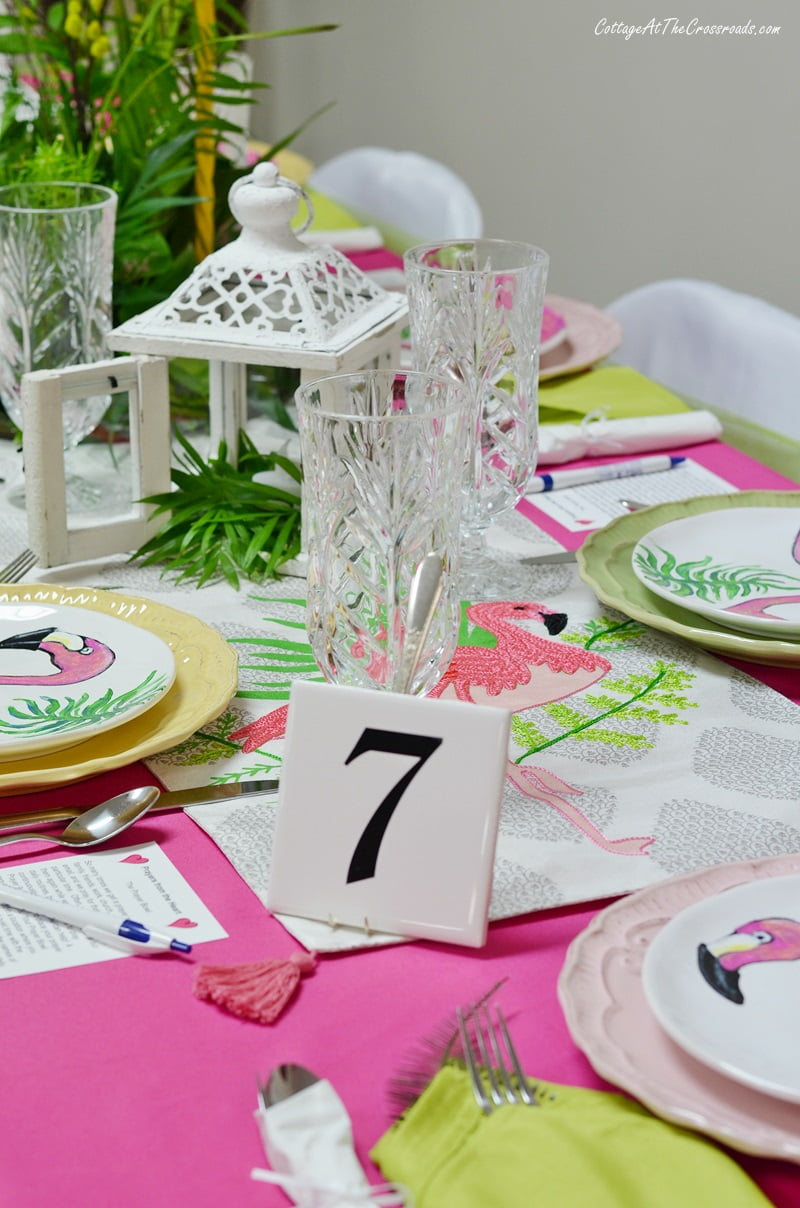 flamingo themed tablescape