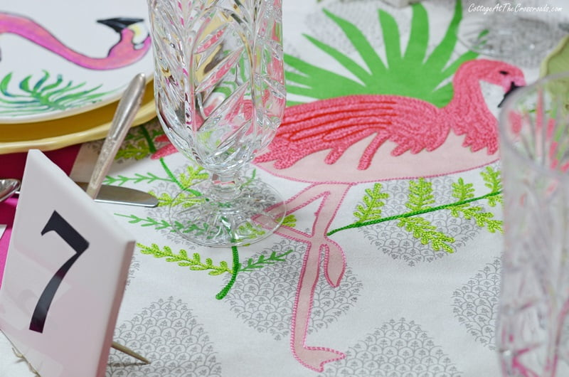 embroidered flamingo table runner