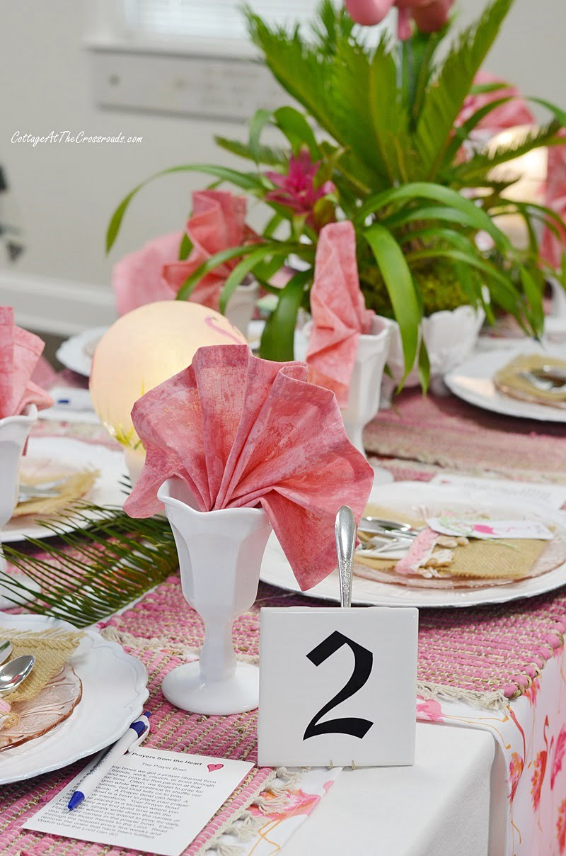 Table 2 with a flamingo theme at our tablescape fundraiser