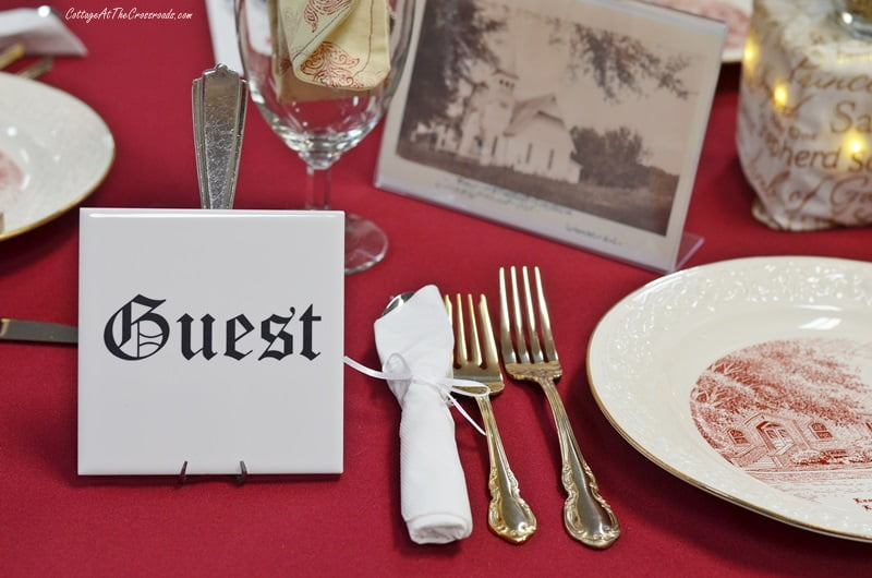 guest table at a church tablesetting fundraiser