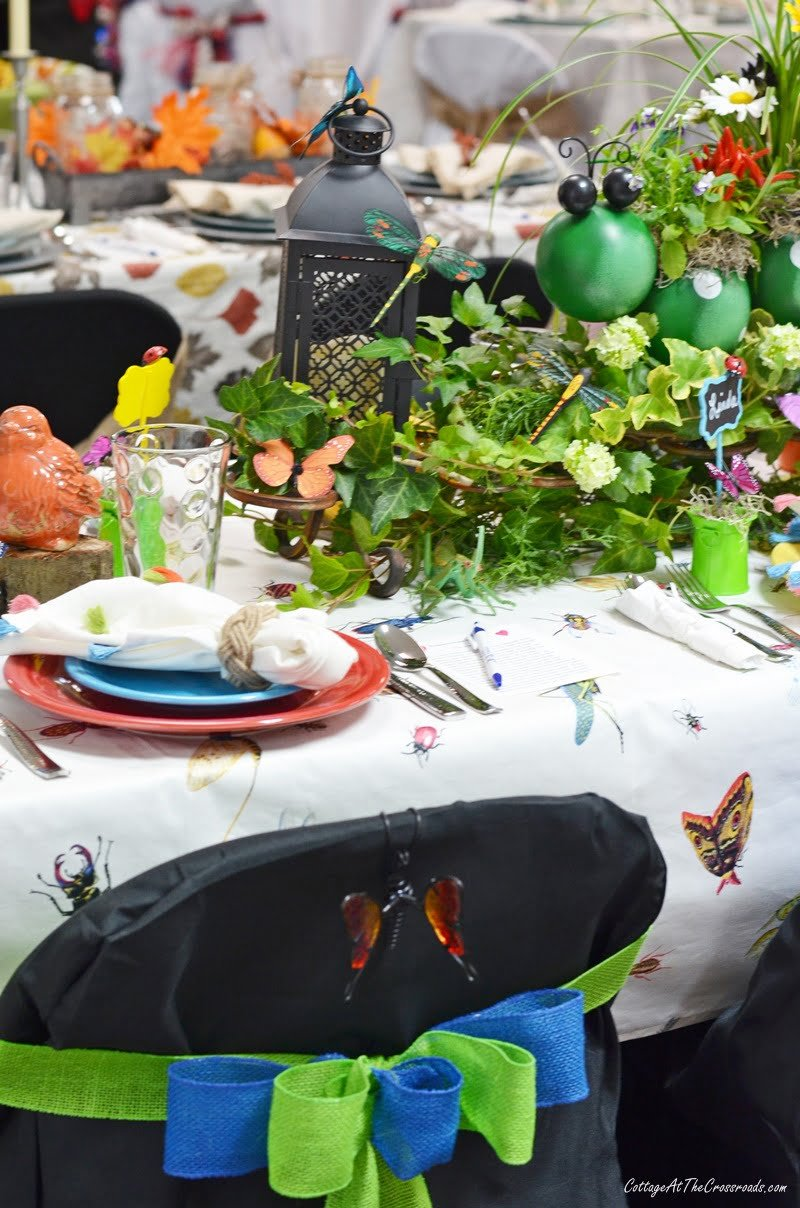 Fiestaware used on an insect themed tablescape
