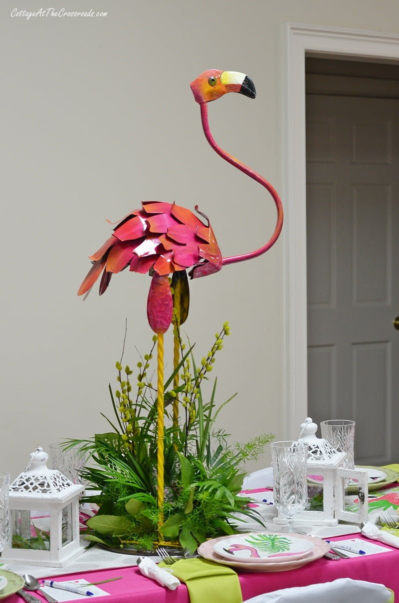 tall metal flamingo centerpiece