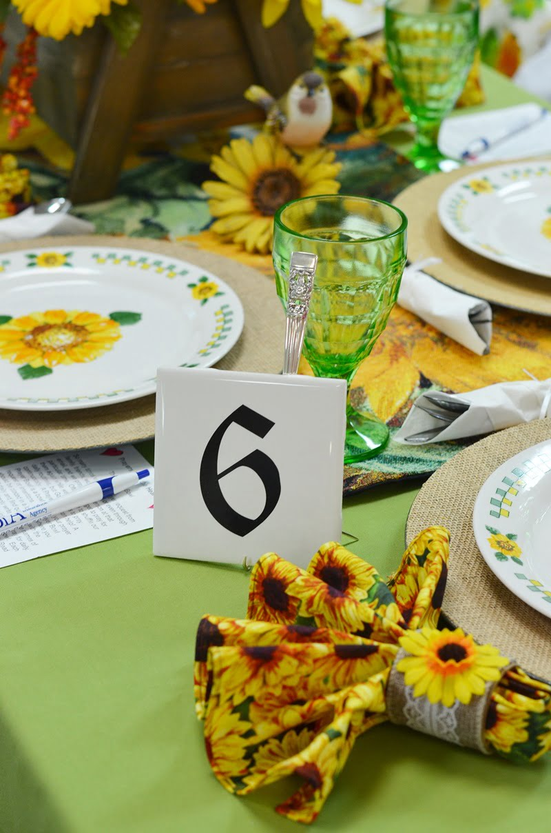 tablescape with a sunflower theme