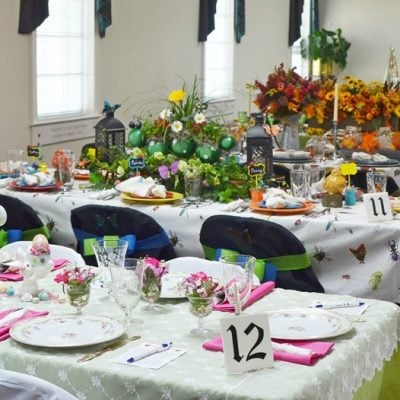 several tables from our tablescape fundraiser