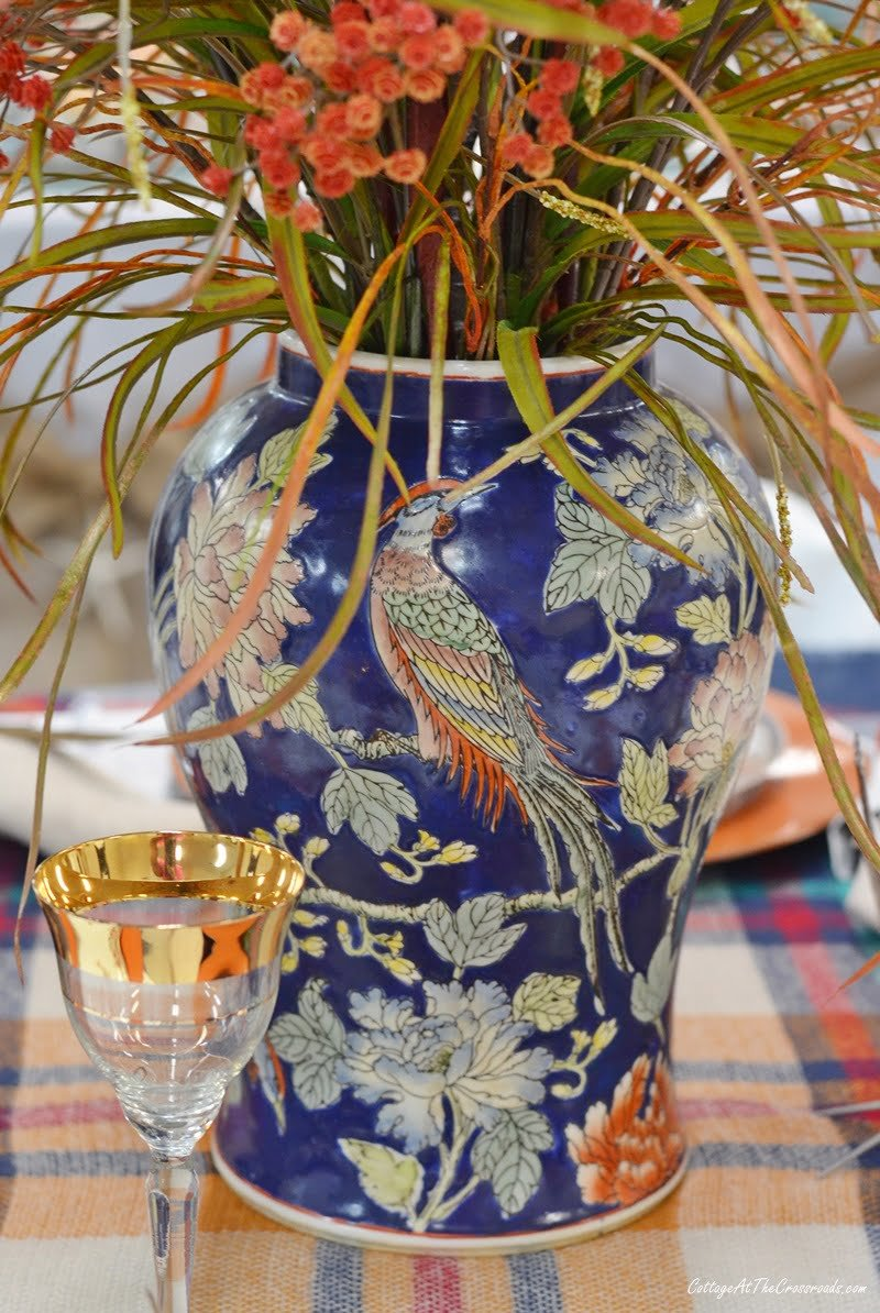 vase with pheasant used on a fall tablescape