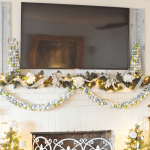 Christmas mantel with an ornament garland