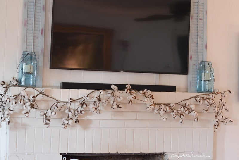 cotton garland on mantel