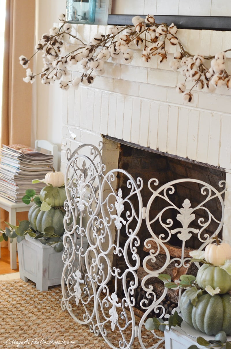 fall mantel with a cotton garland