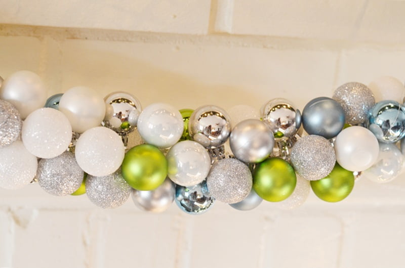 ornament garland hanging on a mantel