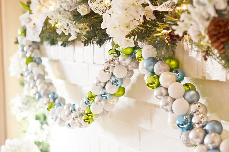 DIY Christmas Ornament Garland in shades of green, blue, silver, and white