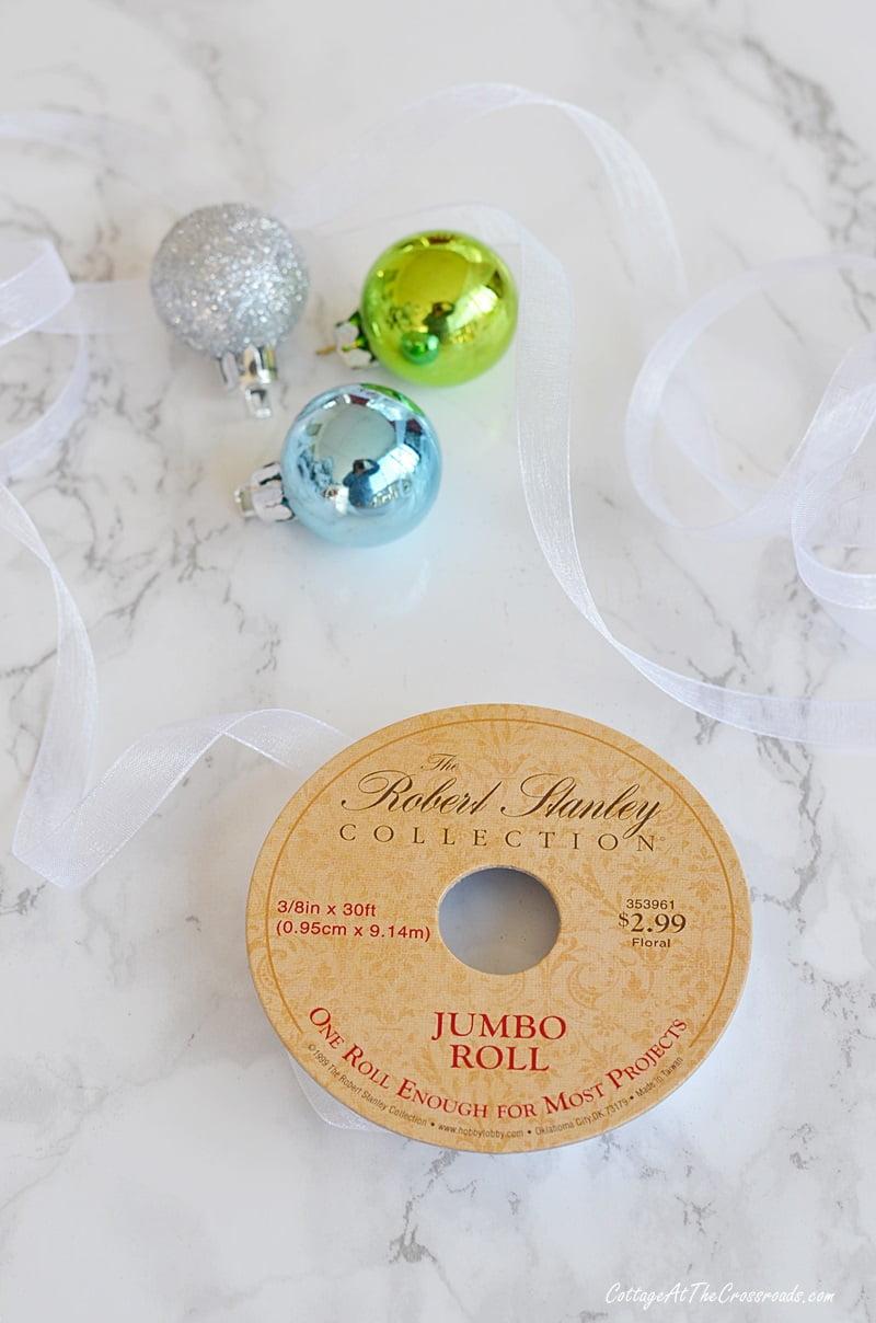 sheer ribbon used to make an ornament garland